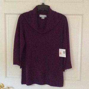 NWT Sag Harbor Purple Sweater Small 3/4 Sleeve